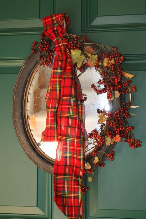 20 Alternatives to Wreaths for Fall and Wnter - mirror wreath - Life on Kaydeross Creek