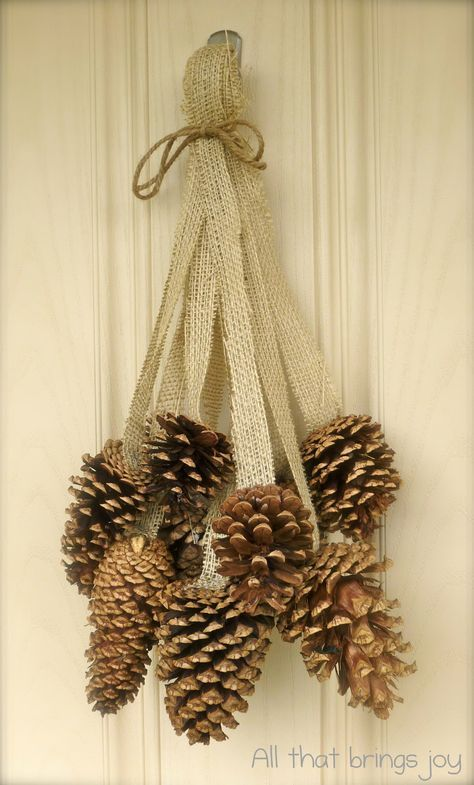 20 Alternatives to Wreaths for Fall and Winter - pine cone swag with burlap - Life on Kaydeross Creek