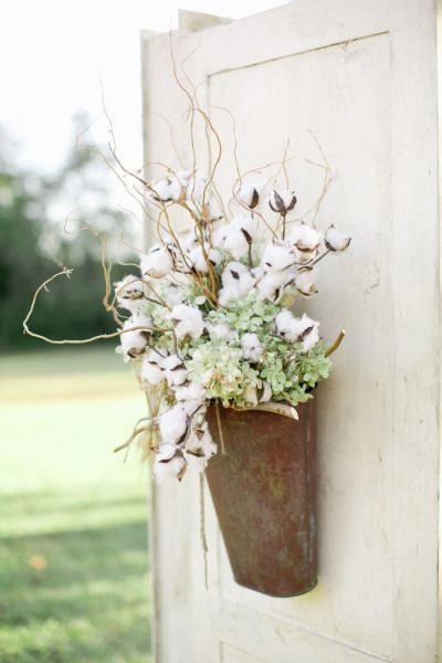 20 Alternatives to wreaths for fall and winter - rusty tin with cotton branches - Life on Kaydeross Creek