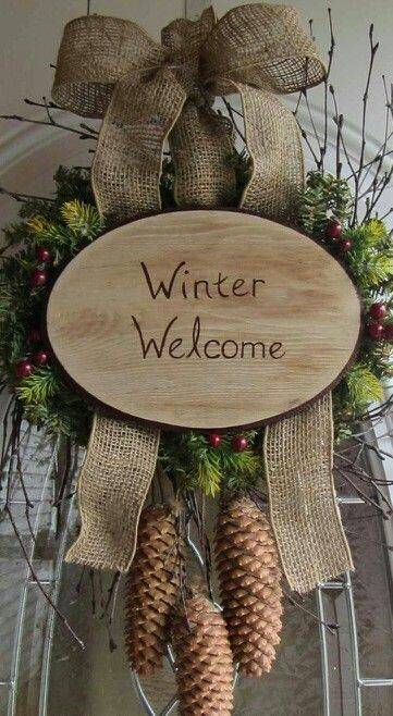 20 Alternatives to Wreaths for Fall and Winter - welcome wood slice - Life on Kaydeross Creek