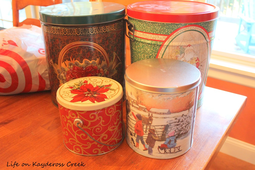3 Easy DIY Christmas Decor Projects Using Spray Paint - thifted Christmas Tins before - Life on Kaydeross Creek