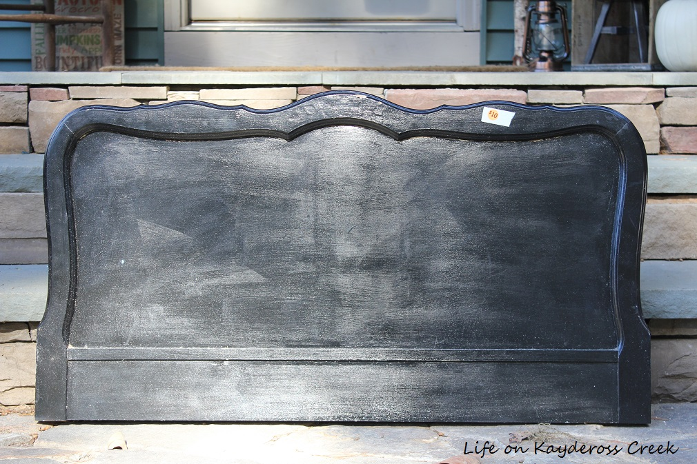 How to Create a Unique Farmhouse Chalkboard From a Twin Headboard - cut to size - Life on Kaydeross Creek