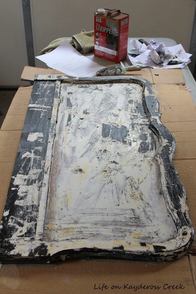 How to Create a Unique Farmhouse Chalkboard From a Twin Headboard - First layer of paint gone - Life on Kaydeross Creek