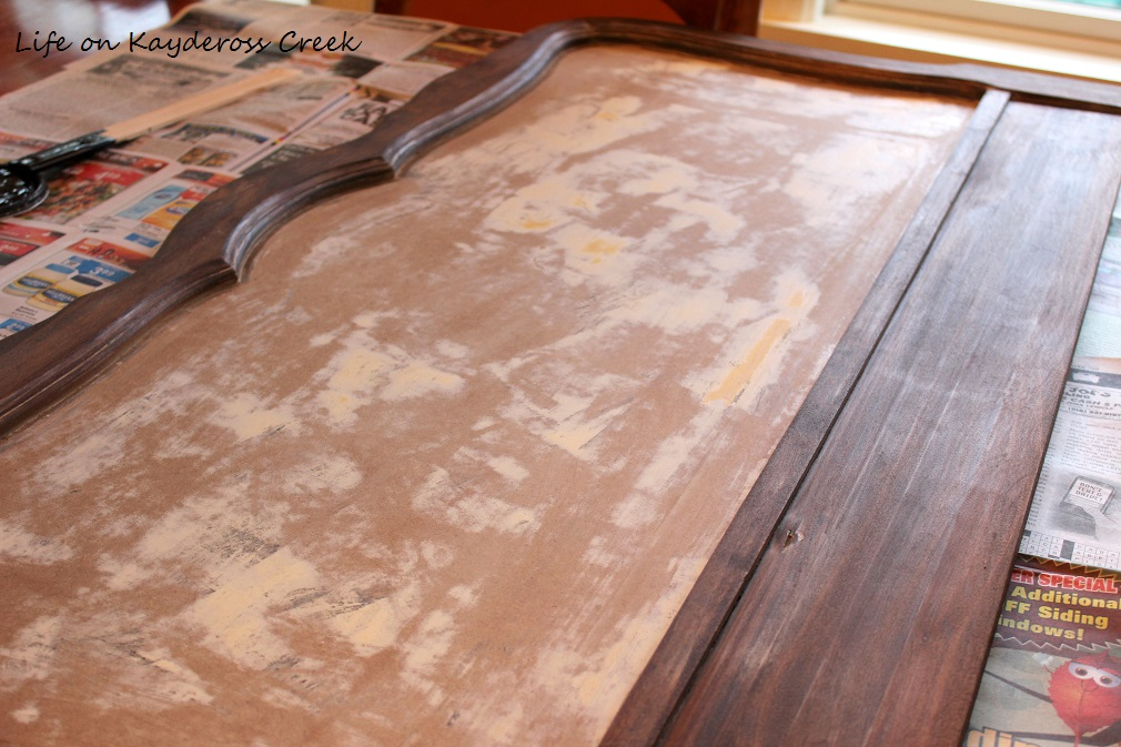 How to Create a Unique Farmhouse Chalkboard From a Twin Headboard - stained and ready for chalkboard paint - Life on Kaydeross Creek