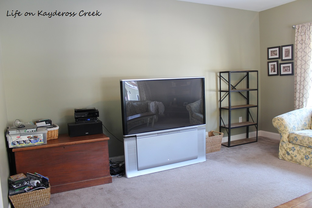 $100 Room Makeover Challenge - TV Room Before organization - Life on Kaydersoss Creek