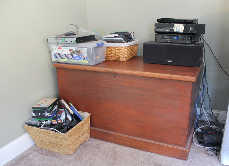 $100 Room Makeover Challenge - TV Room Before - storage - organization - Life on Kaydersoss Creek