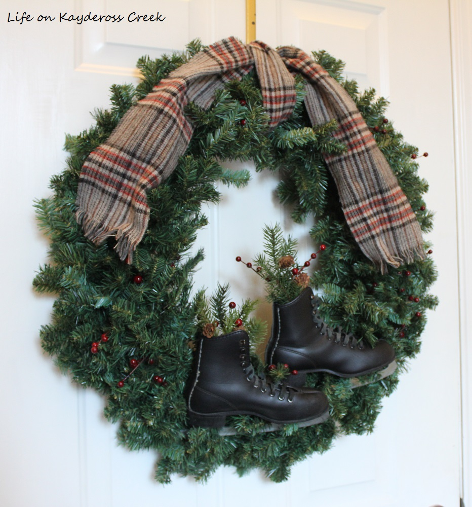 Classic Christmas Home Tour - Foyer Vintage Skates Wreath - Life on Kaydeross Creek