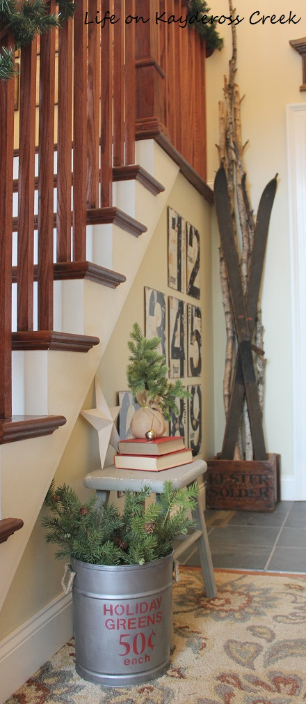 Classic Christmas Home Tour - Foyer winter accessories - Life on Kaydeross Creek