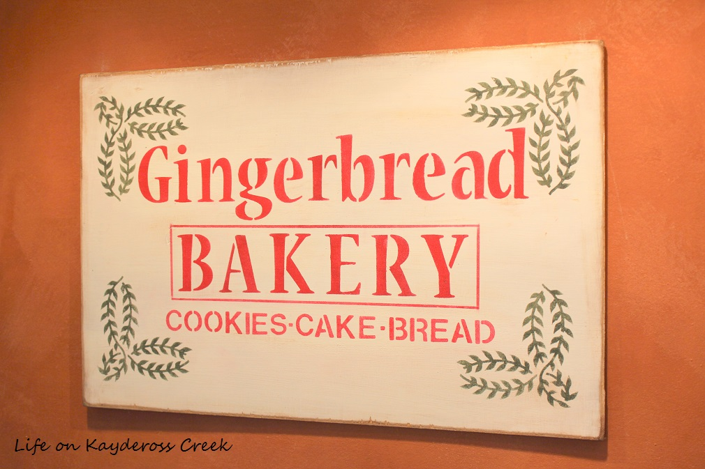 Classic Christmas Home Tour part 2 - Kitchen and Gingerbread bakery sign - farmhouse Christmas - Life on Kaydeross Creek