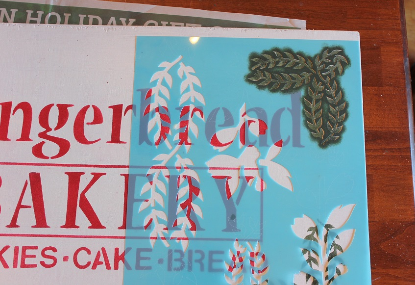 Classic Christmas Home Tour part 2 - gingerbread sign using stencils - farmhouse Christmas - Life on Kaydeross Creek