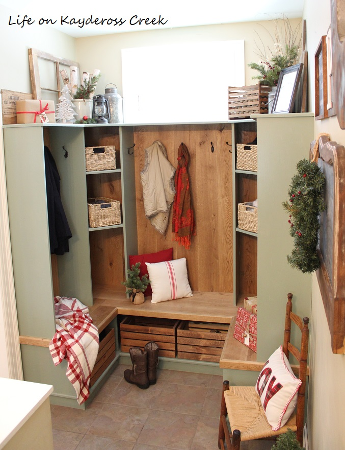 Classic Christmas Home Tour part 2 - mudroom - farmhouse Christmas - Life on Kaydeross Creek