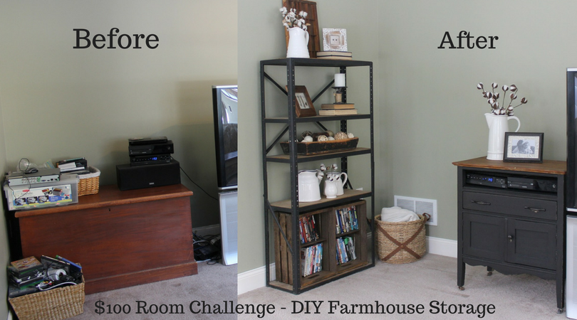 $100 Room Challenge - DIY Farmhouse Storage - Before and After - Life on Kaydeross Creek