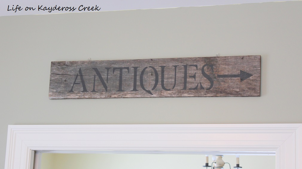 $100 Room Challenge - DIY Farmhouse Wall Decor - DIY reclaimed wood antiques sign - Life on Kaydeross Creek