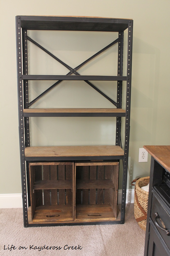 $100 Room Challenge week 2 - DIY Farmhouse storage wooden crates and industrial shelf - farmhouse - Life on Kaydeross Creek