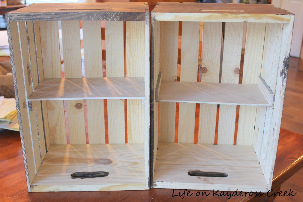 $100 Room Challenge week 2 - shelves added to the crates for storage - farmhouse storage - Life on Kaydeross Creek