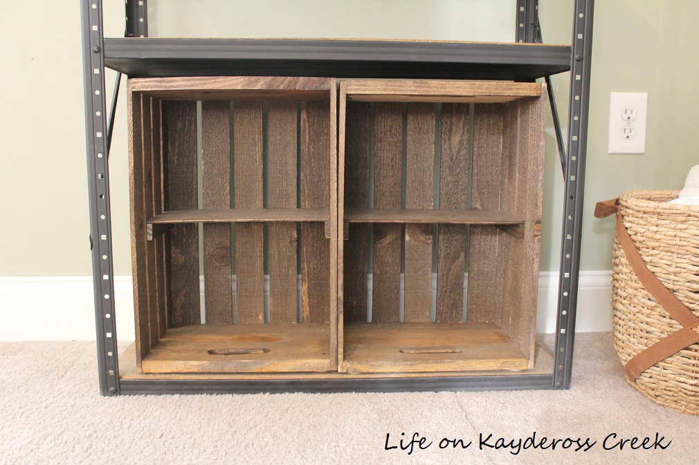 $100 Room Challenge week 2 - DIY Farmhouse Storage - storage with wooden crates - Life on Kaydeross Creek