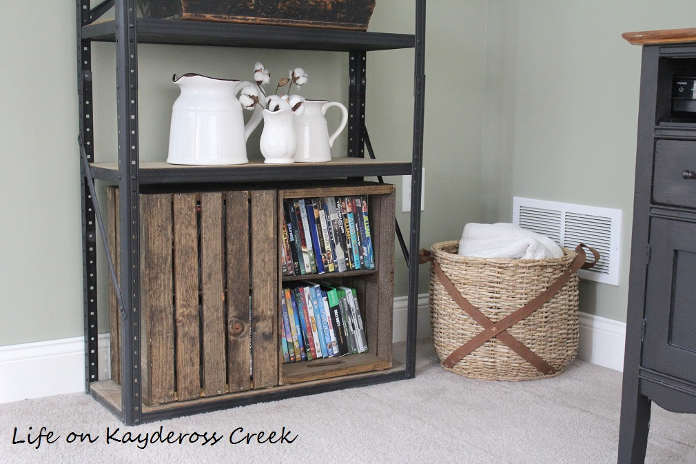 $100 Room Challenge week 2 - DIY Farmhouse storage with wooden crates -farmhouse storage - Life on Kaydeross Creek