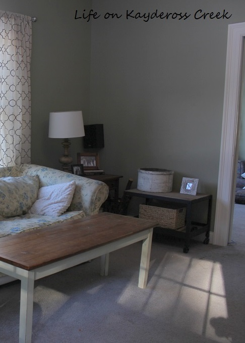 $100 Room Makeover Challenge -budget friendly lighting family room corner before - Life on Kaydersoss Creek