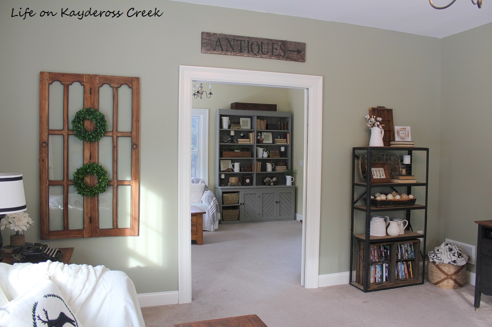 $100 Room Challenge- Family Room Reveal - view to kids room - Life on Kaydeross Creek