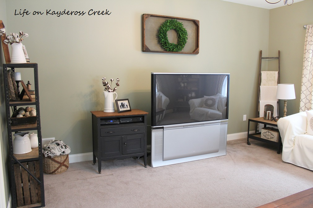 $100 Room Challenge - Our Family Room TV and Components - Life on Kaydeross Creek