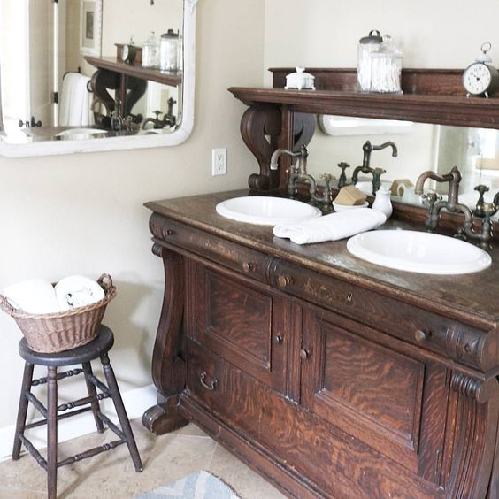 unique bathroom furniture. 25 Unique Bathroom Vanities Made From Furniture - Buffet With Mirror Farmhouse Life On A