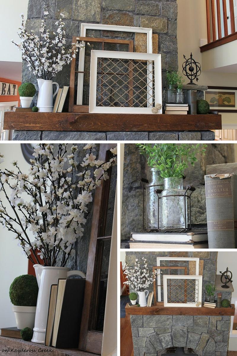 Farmhouse Decor For Living Rooms: Farmhouse Spring Mantel On A Budget