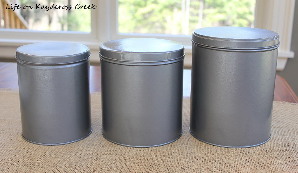 Diy Farmhouse Canister Set Thrift Store Tins Turned Into Kitchen Decor Life On Kaydeross Creek