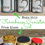 DIY Farmhouse Canister Set - Add Character to your kitchen with DIY Canisters made from thrifted tins and craft paint - Life on Kaydeross Creek