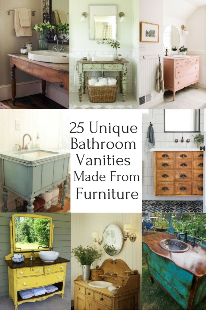 25 Unique Bathroom Vanities Made From Furniture   Farmhouse   Upcycled  Furniture   Furniture Makeovers