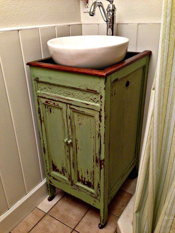25 Unique Bathroom Vanities Made From Furniture Green Half Bath Vanity Farmhouse Life