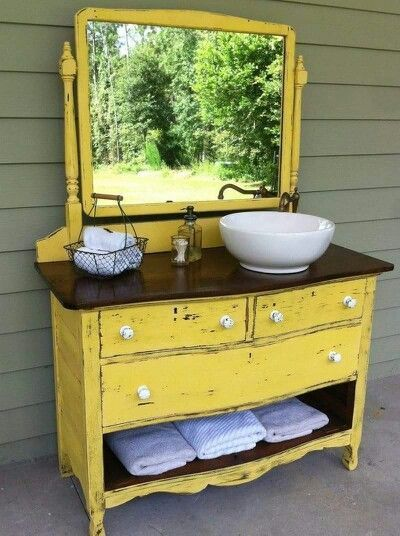 25 Bathroom Vanities Made From Furniture - Yellow Dresser - Farmhouse -  Life on Kaydeross Creek - 25 Unique Bathroom Vanities Made From Furniture - Life On Kaydeross