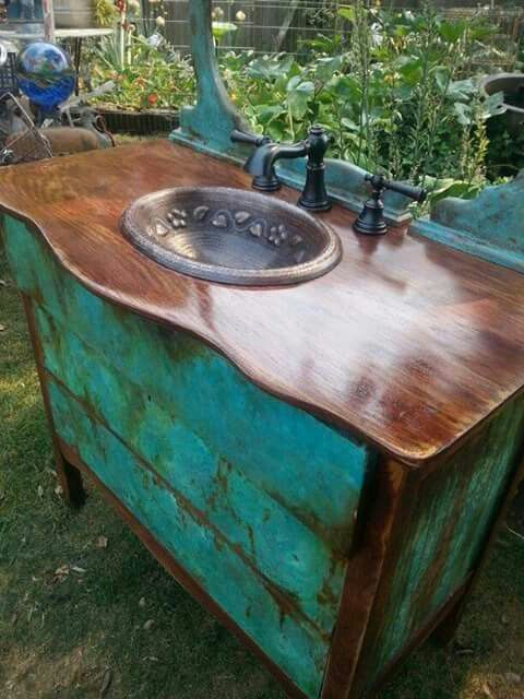 25 Unique Bathroom Vanities Made From Furniture Blue And Copper Vanity Farmhouse Life