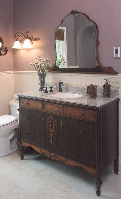 25 Unique Bathroom Vanities Made From Furniture   Dark Dresser With Inlay  And Mirror   Farmhouse