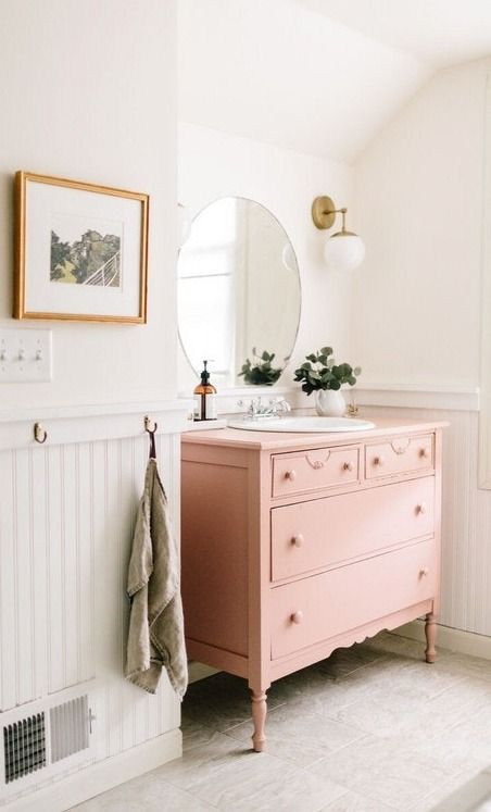 25 Bathroom Vanities Made From Furniture   Pink Dresser   Life On Kaydeross  Creek