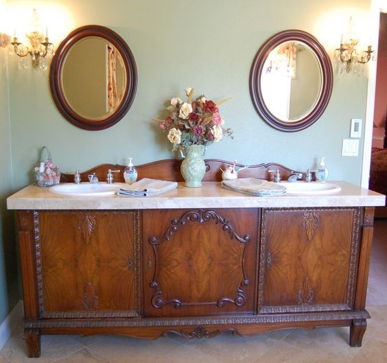 25 Unique Bathroom Vanities Made From Furniture Antique Sideboard Farmhouse Life On Kaydeross