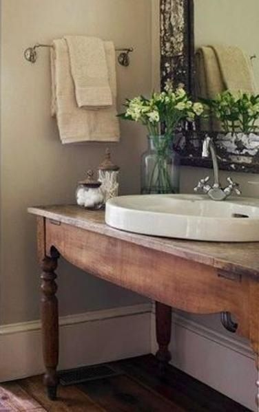 25 Bathroom Vanities Made From Furniture Farmhouse Wooden Table As Vanity With Porcelan Sink