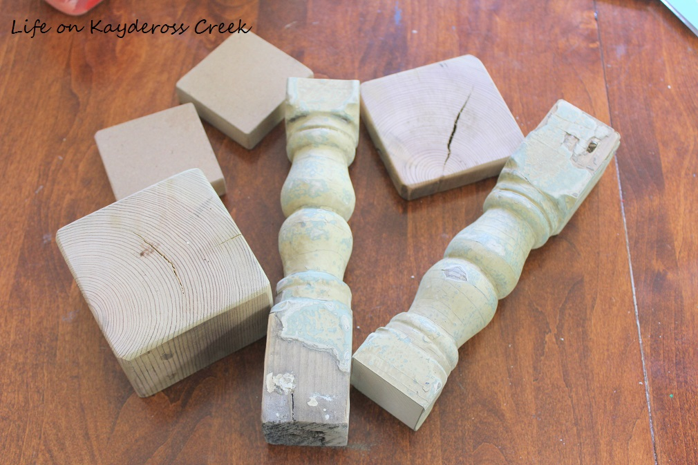 How to make candlestick holders from old spindles - pieces before-farmhouse - from Life on Kaydeross Creek